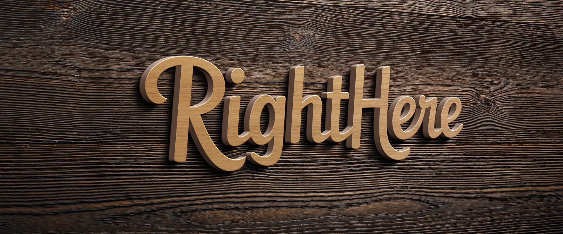 Wooden 3D RigthHere logo on wooden background.