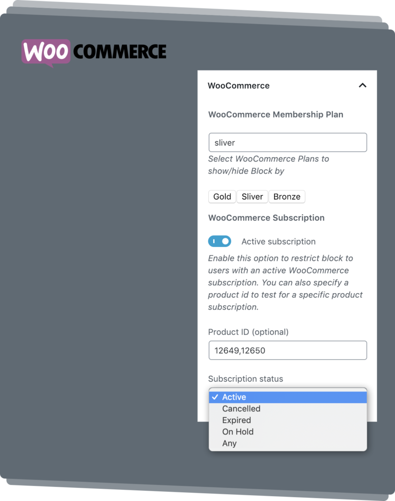 WooCommerce Membership and Subscriptions Settings