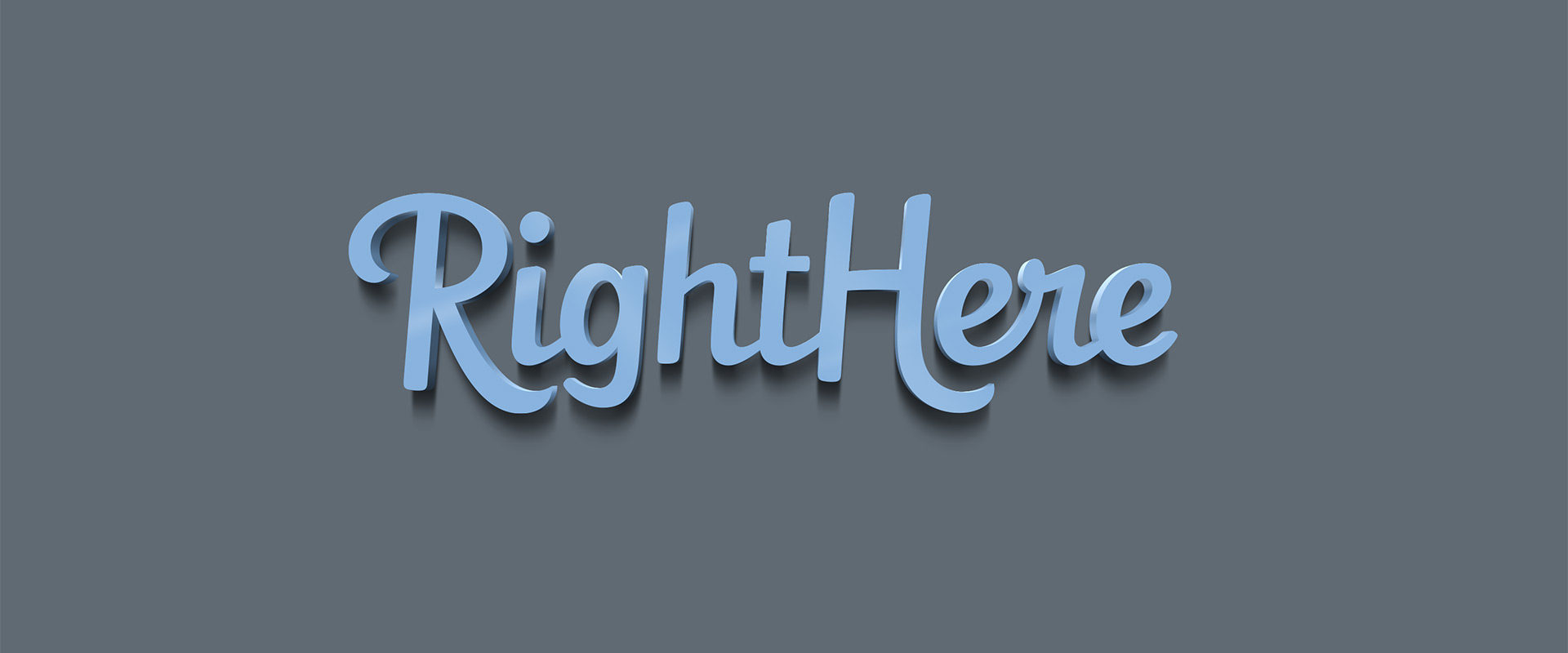 3D Blue RightHere logo on grey background